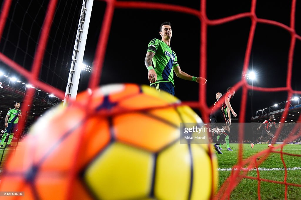 Jose Fonte of Southampton shows his dejection as Steve Cook of Bournemouth scores his team's first goal during the Barclays Premier League match between A.F.C. Bournemouth and Southampton at Vitality Stadium on March 1, 2016 in Bournemouth, England.