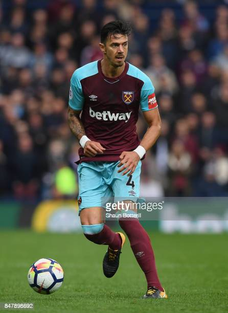 Jose Fonte of West Ham United runs with the ball during the Premier League match between West Bromwich Albion and West Ham United at The Hawthorns on...