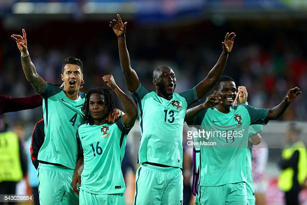 Jose Fonte Renato Sanches Danilo Pereira and William Carvalho of Portugal celebrate their team's 10 win after the UEFA EURO 2016 round of 16 match...