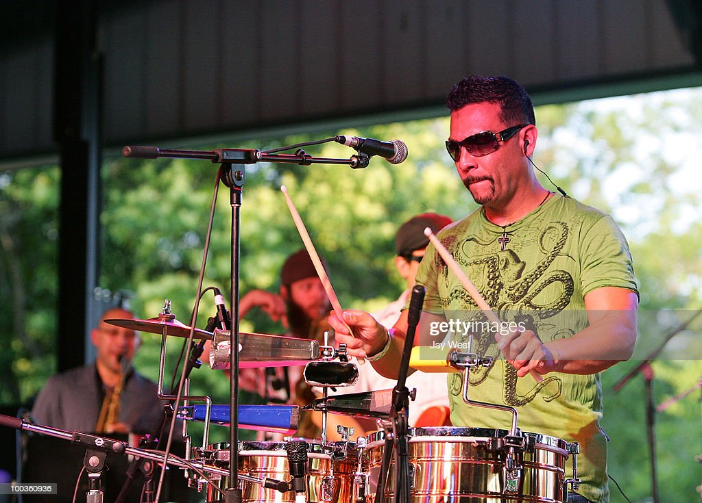 Jose Galeano of Grupo Fantasma performs at Pachanga Latino Music Festival at Fiesta Gardens on May 22, 2010 in Austin, Texas.