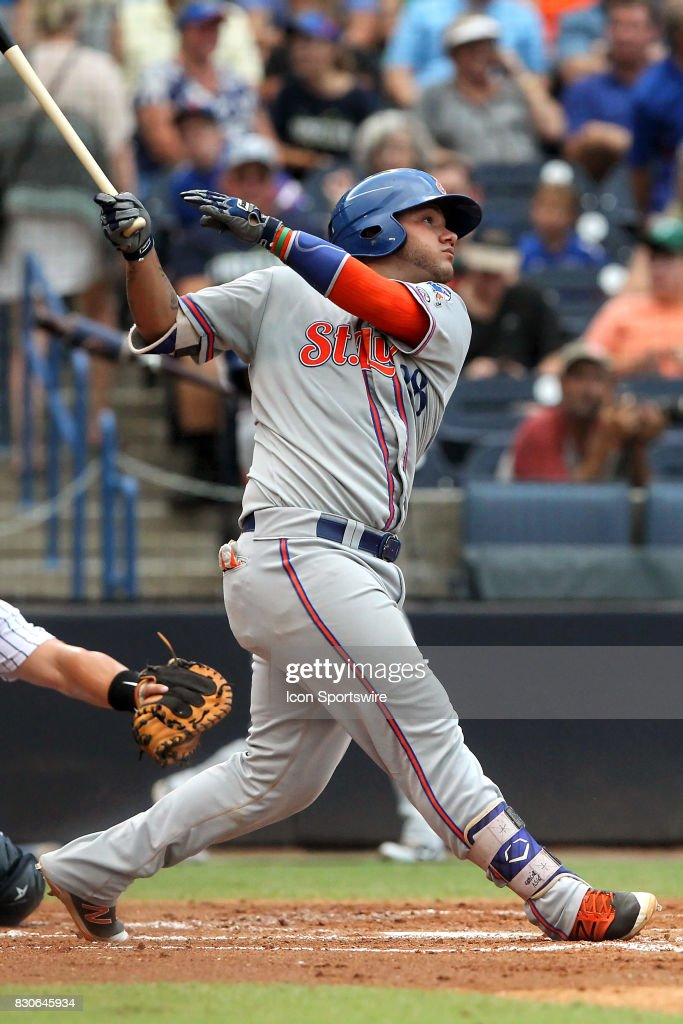 Jose Garcia of the Mets at bat during the Florida State League game between the St. Lucie Mets and the Tampa Yankees on August 10, 2017, at Steinbrenner Field in Tampa, FL.
