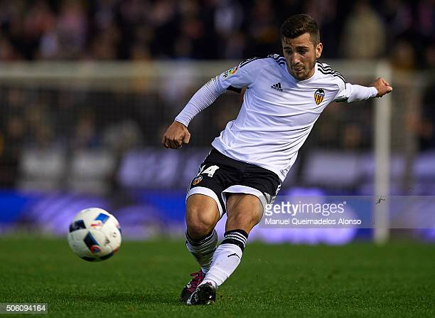 Jose Gaya of Valencia in action during the Copa del Rey Quarter Final First Leg match between Valencia CF and UD Las Palmas at Estadio Mestalla on...