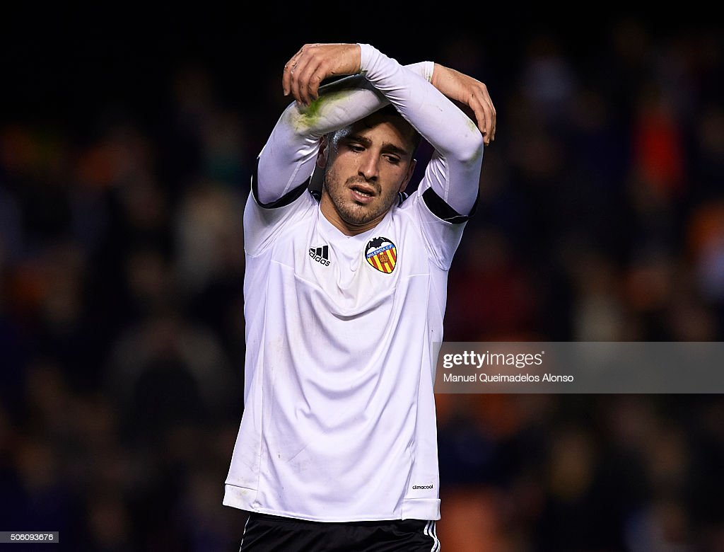 Jose Gaya of Valencia reacts as he fails to score during the Copa del Rey Quarter Final First Leg match between Valencia CF and UD Las Palmas at Estadio Mestalla on January 21, 2016 in Valencia, Spain.