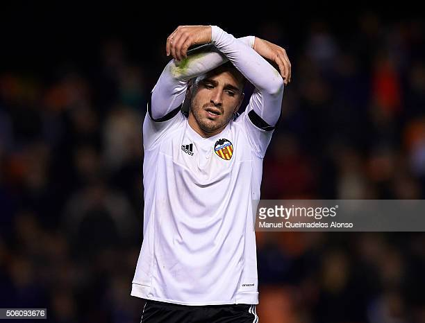 Jose Gaya of Valencia reacts as he fails to score during the Copa del Rey Quarter Final First Leg match between Valencia CF and UD Las Palmas at...