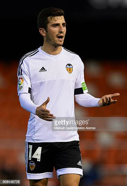 Jose Gaya of Valencia reacts during the Copa del Rey Semi Final second leg match between Valencia CF and FC Barcelona at Estadio Mestalla on February...