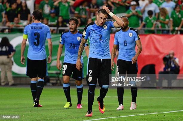 Jose Gimenez of Uruguay reacts on the field during the 2016 Copa America Centenario Group C match against the Mexico at University of Phoenix Stadium...