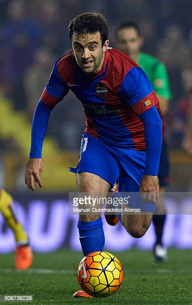 Jose Giusseppe Rossi of Levante runs with the ball during the La Liga match between Levante UD and UD Las Palmas at Ciutat de Valencia Stadium on...