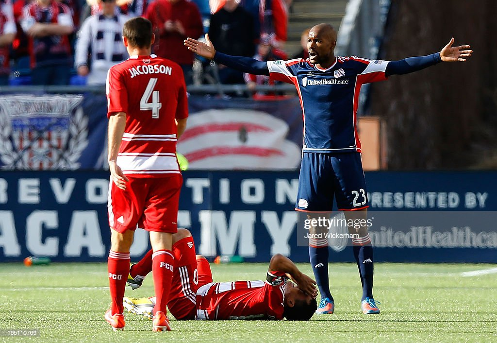Jose Goncalves #23 of New England Revolution protests a foul call during the game against FC Dallas at Gillette Stadium on March 30, 2013 in Foxboro, Massachusetts.