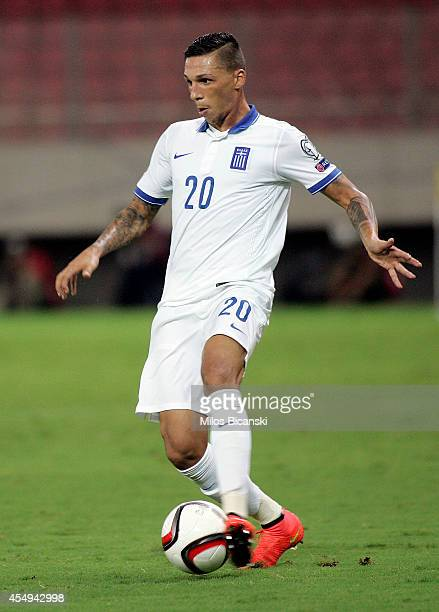 Jose Holebas of Greece during the group F EURO 2016 qualifier between Greece and Romania at Georgios Karaiskakis stadium on September 7 2014 in...