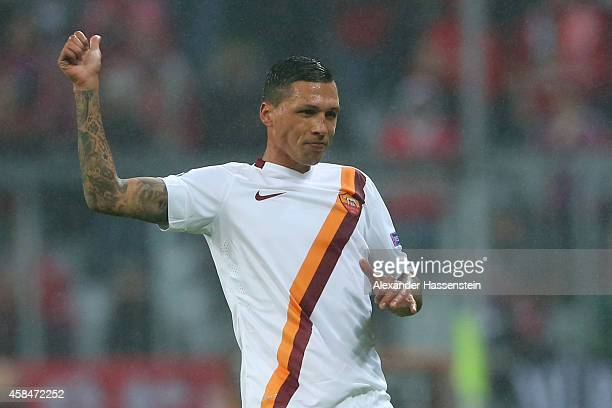 Jose Holebas of Roma reacts during the UEFA Champions League Group E match between FC Bayern Munchen and AS Roma at Allianz Arena on November 5 2014...