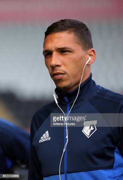 Jose Holebas of Watford arrives prior to the game during the Premier League match between Swansea City and Watford at The Liberty Stadium on...