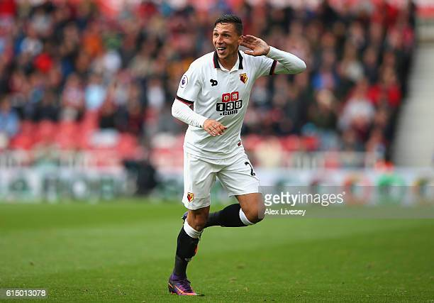 Jose Holebas of Watford celebrates scoring his sides first goal during the Premier League match between Middlesbrough and Watford at Riverside...