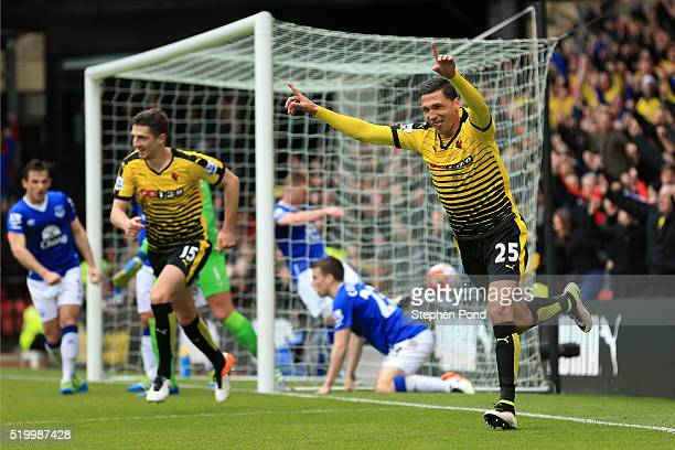 Jose Holebas of Watford celebrates scoring his team's first goal during the Barclays Premier League match between Watford and Everton at Vicarage...