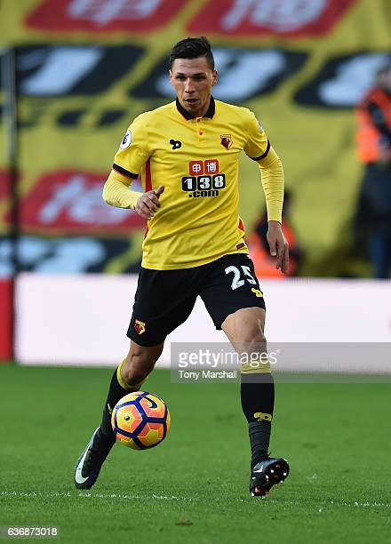 Jose Holebas of Watford during the Barclays Premier League match between Watford and Crystal Palace at Vicarage Road on December 26 2016 in Watford...