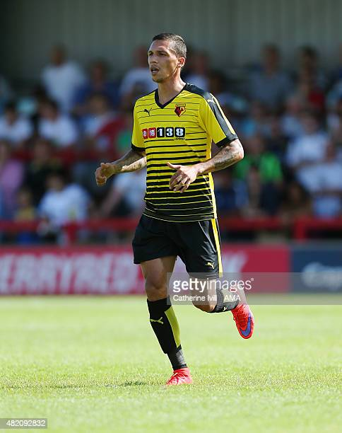 Jose Holebas of Watford during the Pre Season Friendly match between AFC Wimbledon and Watford at The Cherry Red Records Stadium on July 11 2015 in...