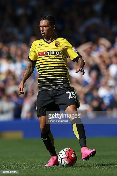 Jose Holebas of Watford in action during the Barclays Premier League match between Everton and Watford at Goodison Park on August 8 2015 in Liverpool...