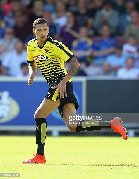 Jose Holebas of Watford in action during the Pre Season Friendly match between AFC Wimbledon and Watford at The Cherry Red Records Stadium on July 11...