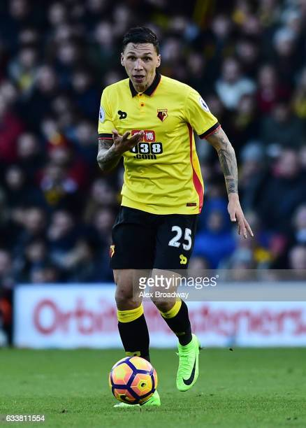 Jose Holebas of Watford in action during the Premier League match between Watford and Burnley at Vicarage Road on February 4 2017 in Watford England