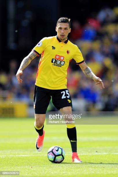 Jose Holebas of Watford in action during the Premier League match between Watford and Manchester City at Vicarage Road on May 21 2017 in Watford...