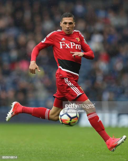 Jose Holebas of Watford in action during the Premier League match between West Bromwich Albion and Watford at The Hawthorns on September 30 2017 in...