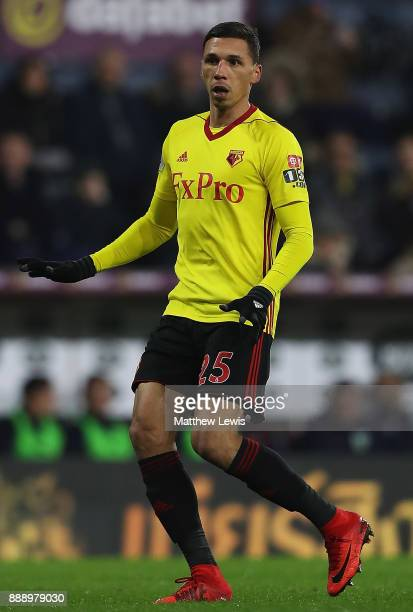 Jose Holebas of Watford in action during the Premier League match between Burnley and Watford at Turf Moor on December 9 2017 in Burnley England