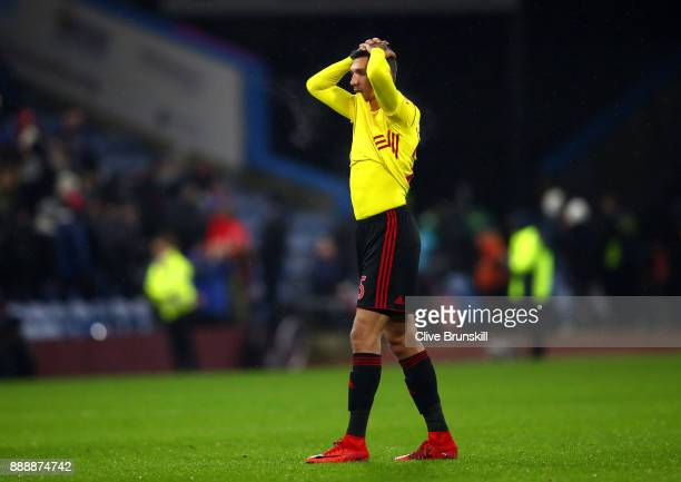 Jose Holebas of Watford looks dejected following defeat in the Premier League match between Burnley and Watford at Turf Moor on December 9 2017 in...