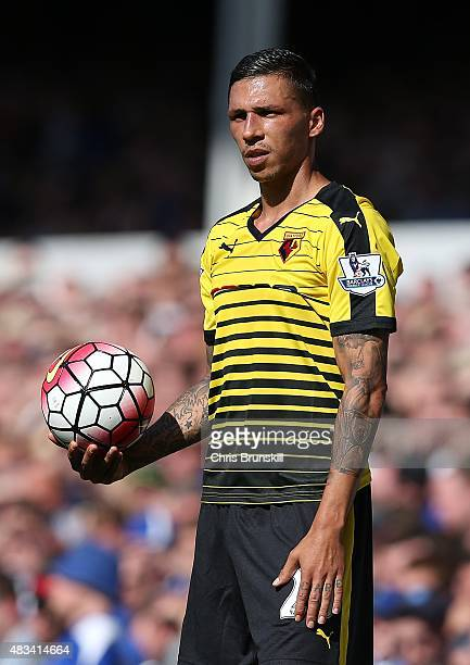 Jose Holebas of Watford looks on during the Barclays Premier League match between Everton and Watford at Goodison Park on August 8 2015 in Liverpool...