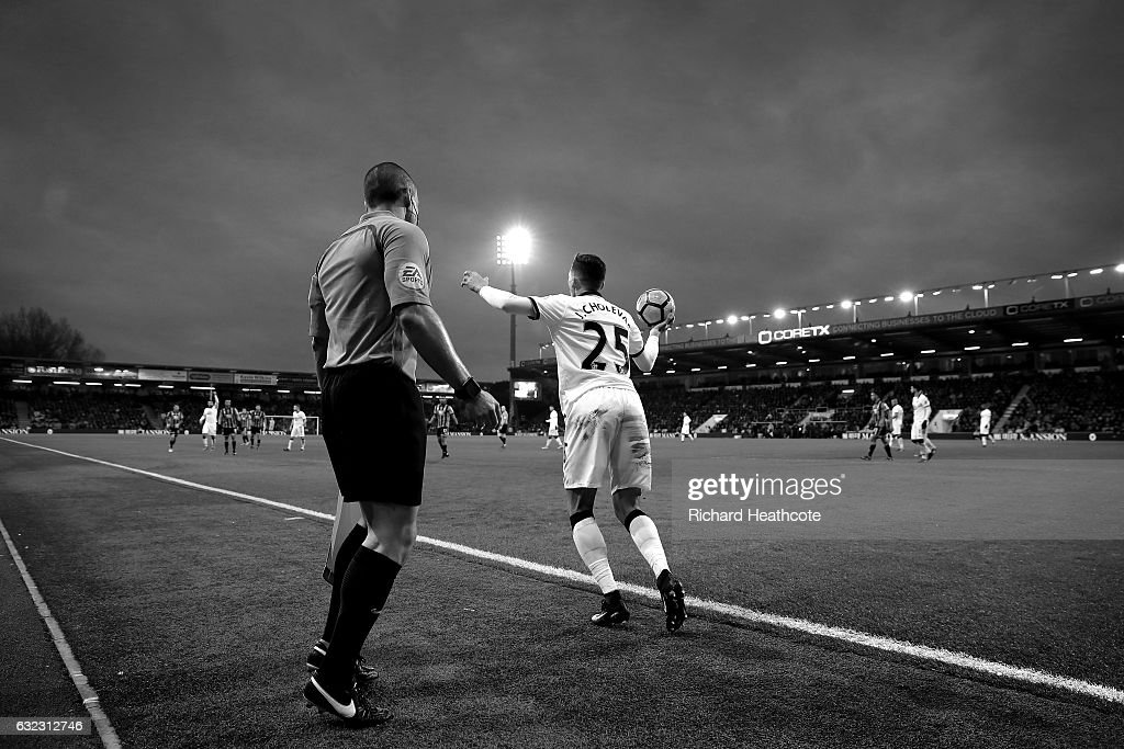 Jose Holebas of Watford takes a throw in during the Premier League match between AFC Bournemouth and Watford at Vitality Stadium on January 21, 2017 in Bournemouth, England.