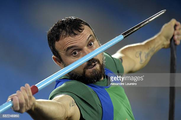 Jose Humberto Rodrigues competes the Men's Javelin Throw F54 Final during the Paralympics Athletics Grand Prix Aquece Rio Test Event for the Rio 2016...