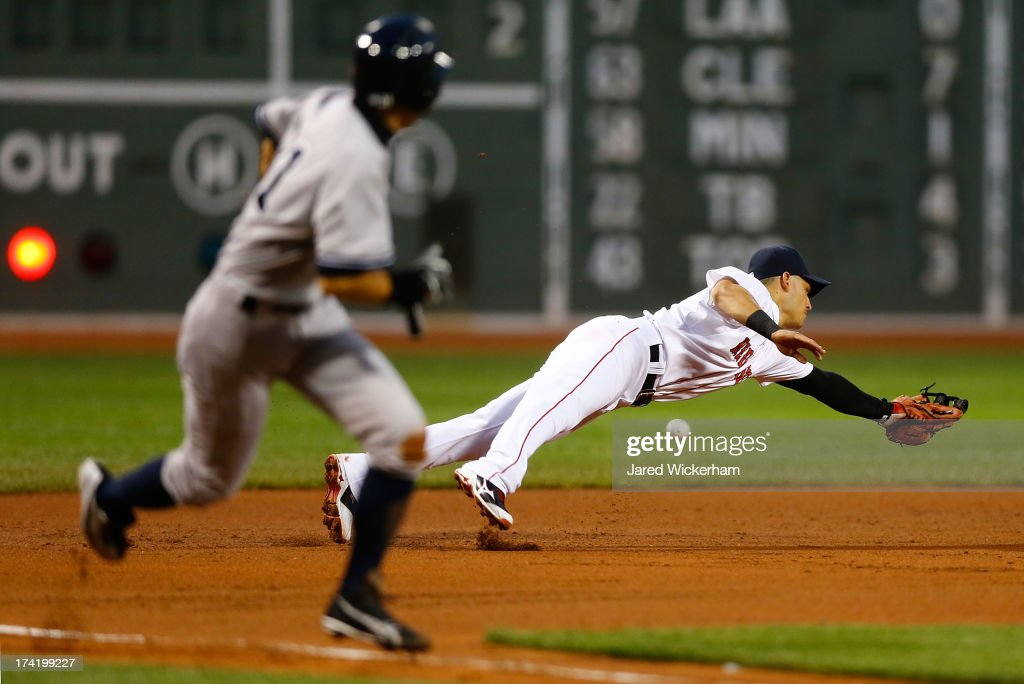 Jose Iglesias #10 of the Boston Red Sox dives in front of <a gi-track='captionPersonalityLinkClicked' href=/galleries/search?phrase=Ichiro+Suzuki&family=editorial&specificpeople=201556 ng-click='$event.stopPropagation()'>Ichiro Suzuki</a> #31 of the New York Yankees but cannot come up with a line drive RBI in the first inning during the game on July 21, 2013 at Fenway Park in Boston, Massachusetts.