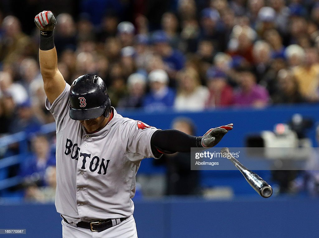 Jose Iglesias #10 of the Boston Red Sox reacts after getting hit by Josh Johnson #55 of the Toronto Blue Jays in the second inning during MLB action at the Rogers Centre April 5, 2013 in Toronto, Ontario, Canada.