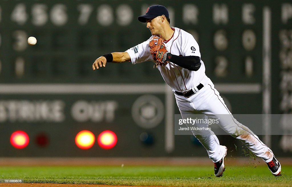 Jose Iglesias #58 of the Boston Red Sox throws to first base after fielding a ground ball against the New York Yankees during the game on September 12, 2012 at Fenway Park in Boston, Massachusetts.
