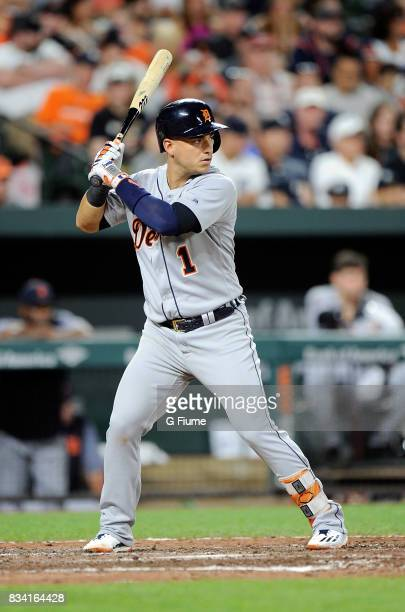 Jose Iglesias of the Detroit Tigers bats against the Baltimore Orioles at Oriole Park at Camden Yards on August 5 2017 in Baltimore Maryland