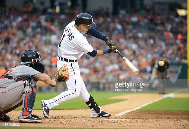Jose Iglesias of the Detroit Tigers bats while wearing a special jersey to honor the ¡Fiesta Tigres celebration game against the Boston Red Sox at...