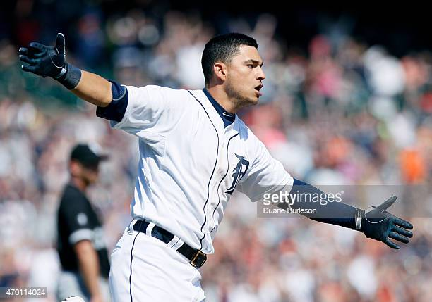Jose Iglesias of the Detroit Tigers celebrates after hitting the gamewinning single against the Chicago White Sox during the ninth inning at Comerica...