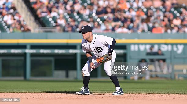Jose Iglesias of the Detroit Tigers fields during the game against the Tampa Bay Rays at Comerica Park on May 21 2016 in Detroit Michigan The Tigers...