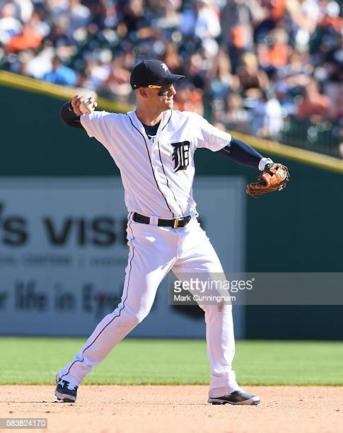 Jose Iglesias of the Detroit Tigers fields during the game against the Cleveland Indians at Comerica Park on June 25 2016 in Detroit Michigan The...