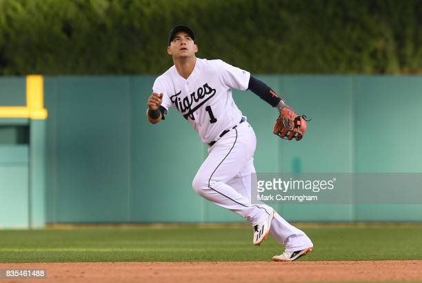 Jose Iglesias of the Detroit Tigers fields while wearing a special jersey to honor the ¡Fiesta Tigres celebration game against the Minnesota Twins at...