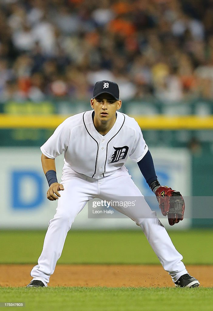Jose Iglesias #1 of the Detroit Tigers gets ready to field the ball during the game against the Chicago White Sox at Comerica Park on August 2, 2013 in Detroit, Michigan. The Tigers defeated the White Sox 2-1.