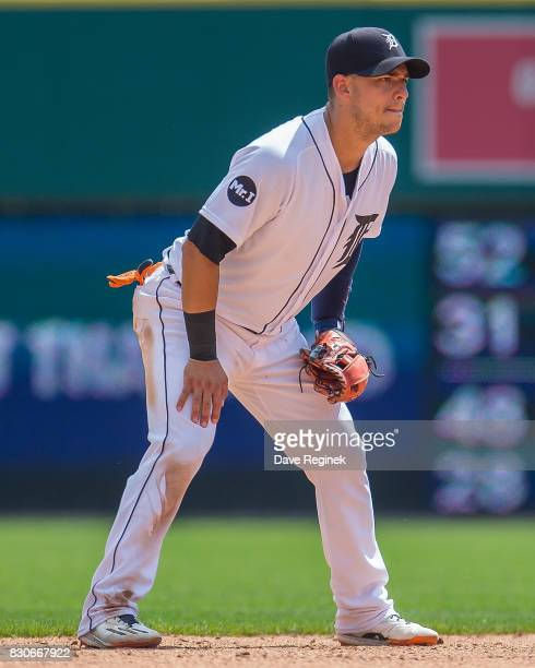 Jose Iglesias of the Detroit Tigers gets set for the pitch against the Pittsburgh Pirates during a MLB game at Comerica Park on August 10 2017 in...