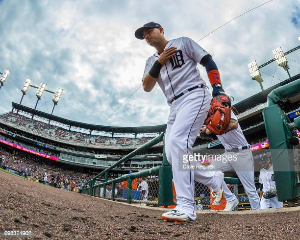 Jose Iglesias of the Detroit Tigers heads out to the field before a MLB game against the Tampa Bay Rays at Comerica Park on June 16 2017 in Detroit...