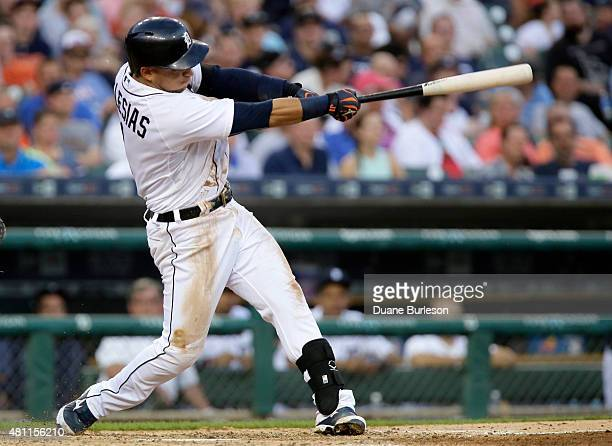 Jose Iglesias of the Detroit Tigers hits a threerun home run against the Baltimore Orioles during the fourth inning at Comerica Park on July 17 2015...