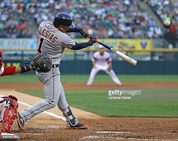 Jose Iglesias of the Detroit Tigers hits a two run home run in the 3rd inning against the Chicago White Sox at US Cellular Field on June 15 2016 in...
