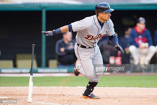 Jose Iglesias of the Detroit Tigers hits an RBI single during the seventh inning against the Cleveland Indians during the home opener at Progressive...
