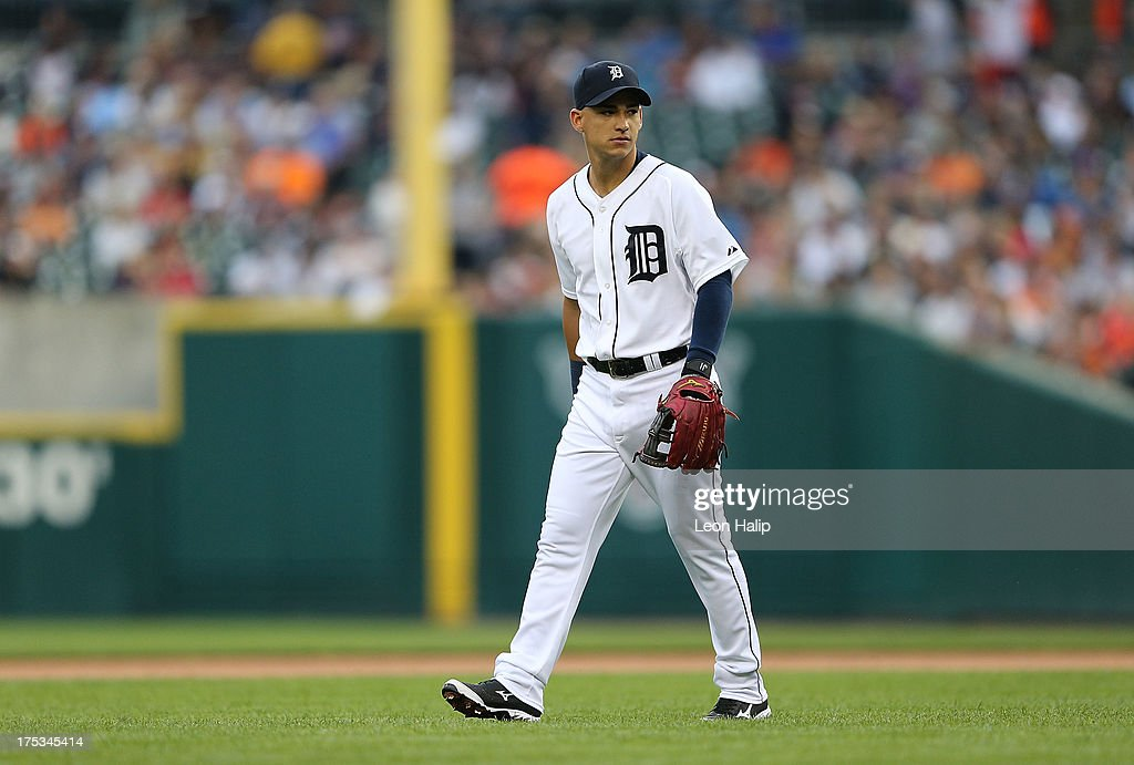 Jose Iglesias #1 of the Detroit Tigers looks into the dugout during the game against the Chicago White Sox at Comerica Park on August 2, 2013 in Detroit, Michigan. The Tigers defeated the White Sox 2-1.