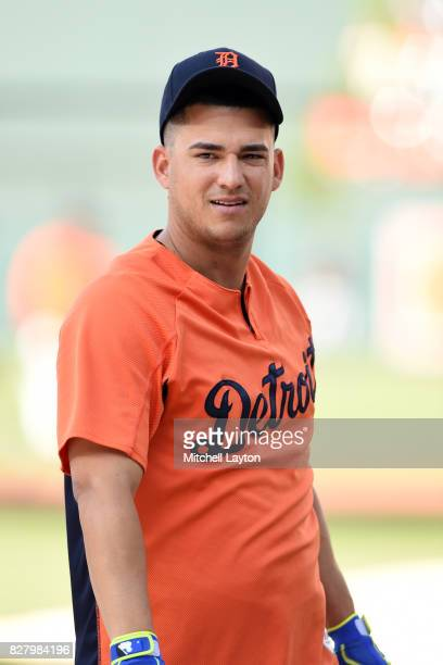 Jose Iglesias of the Detroit Tigers looks on during batting practice of a baseball game against the Baltimore Orioles at Oriole Park at Camden Yards...