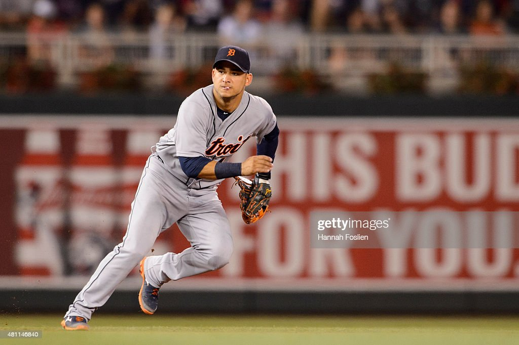Jose Iglesias #1 of the Detroit Tigers makes a play at shortstop against the Minnesota Twins during the game on July 10, 2015 at Target Field in Minneapolis, Minnesota. The Twins defeated the Tigers 8-6.