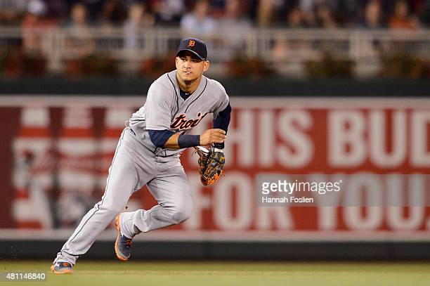 Jose Iglesias of the Detroit Tigers makes a play at shortstop against the Minnesota Twins during the game on July 10 2015 at Target Field in...