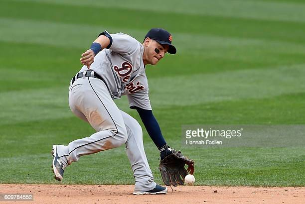 Jose Iglesias of the Detroit Tigers makes a play at shortstop to field the ball hit by Brian Dozier of the Minnesota Twins during the sixth inning of...
