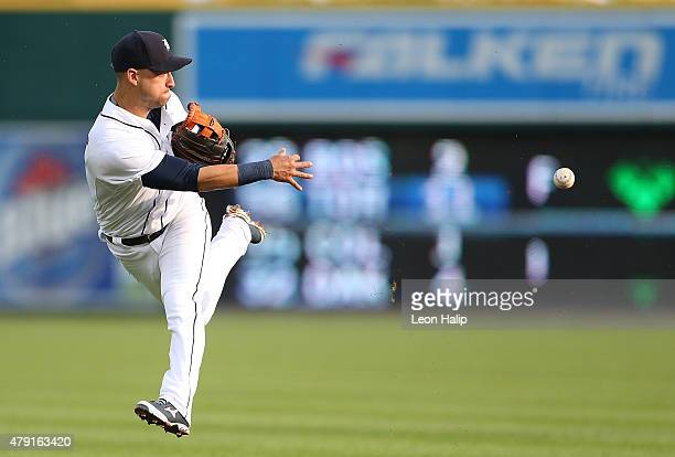 Jose Iglesias of the Detroit Tigers makes the long throw to first base on a ground ball off the bat of Starling Marte of the Pittsburgh Pirates...